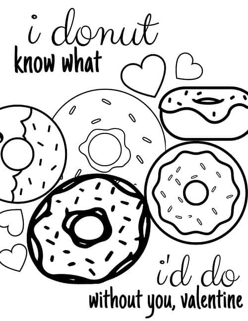 full page Valentine's day coloring page with donuts