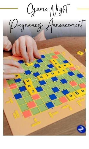 surprise pregnancy announcement to spouse using board game scrabble