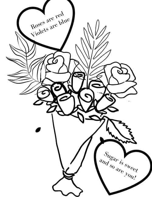Valentine's day coloring sheet printable flower bouquet