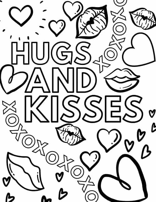 children's valentine's day coloring page xoxo hugs and kisses