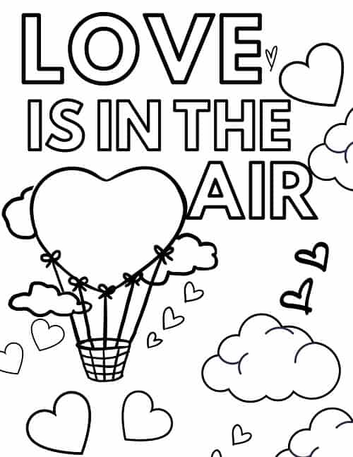 heart shaped hot air balloon valentines day coloring page cute printable