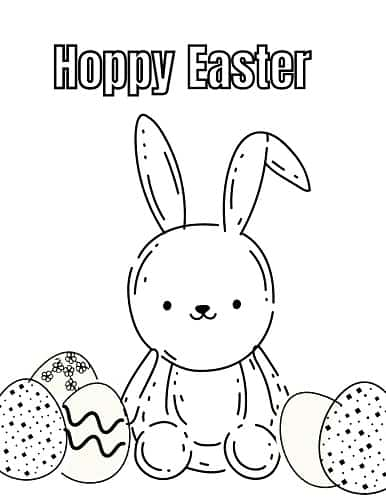 easter bunny with easter eggs coloring page pdf