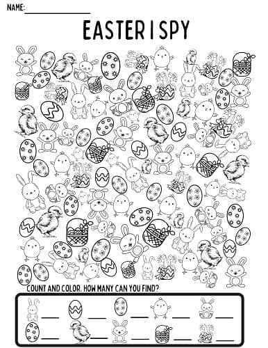 black and white Easter I spy coloring and counting printable activity