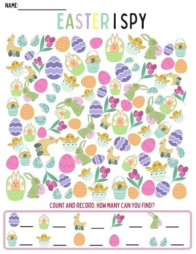 free I SPY printable Easter worksheet