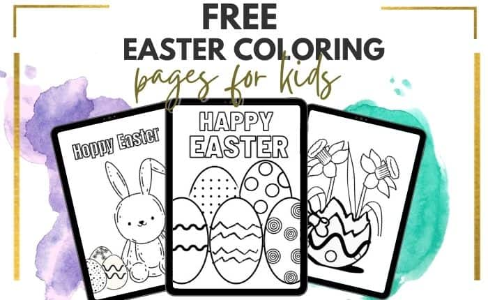 collage of free Easter coloring pages