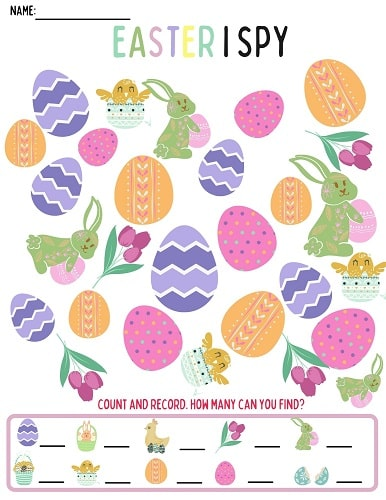 Kindergarten Easter I SPY printable worksheet