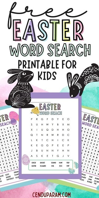 Easter word search puzzle printable esl
