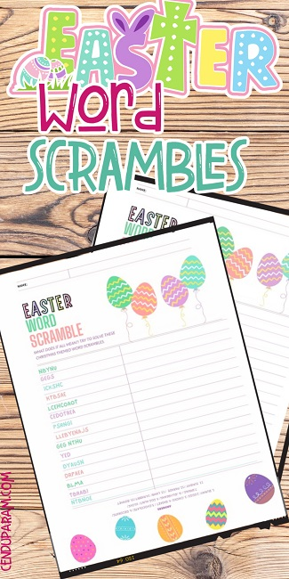 Easter word jumbles activity