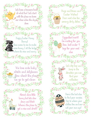 Easter scavenger hunt free printable clues for indoors