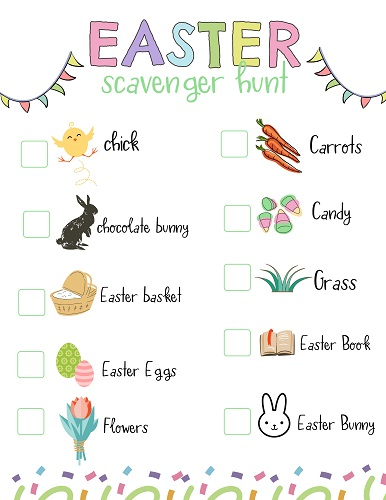 Easter scavenger hunt free printable for toddlers and preschool