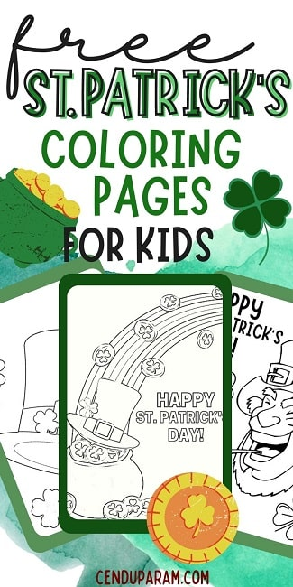 flat lay of st.patty's day coloring pages free printable