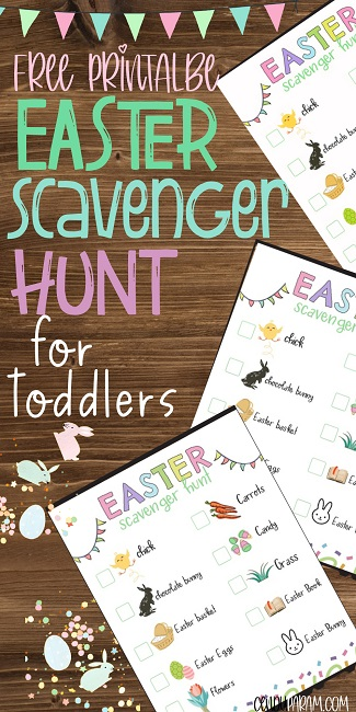 free printable Easter Scavenger hunt for preschool printable pdf