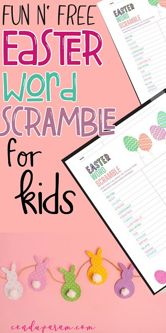 Easter word scramble with answers