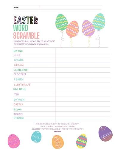 free Easter word scrambles printable
