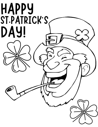 St. Patrick's Day Leprechaun Face Coloring Page