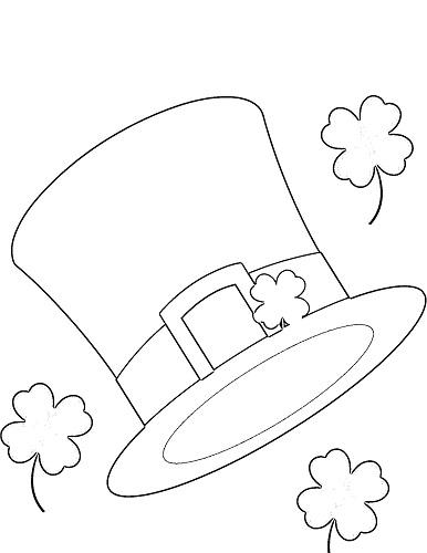 St. Patrick's day leprechaun hat coloring page