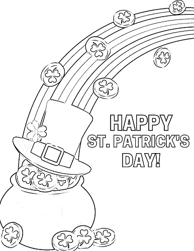 st.patrick's day rainbow with pot of gold coloring page