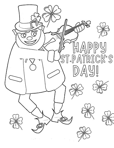 dancing leprechaun St. Patrick's day coloring page