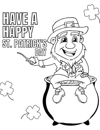 Leprechaun sitting on pot of gold coloring page