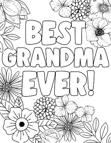 best grandma ever coloring page