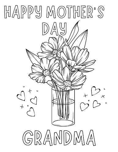 mothers day flowers for grandma coloring page