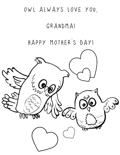 mothers day card for grandma coloring page