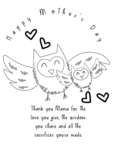 cute and easy mother's day coloring pages