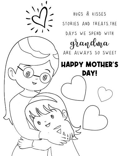 grandma hugs coloring page