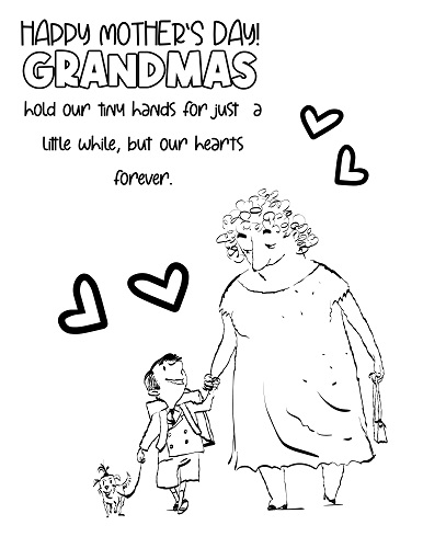 grandma holding hands coloring page