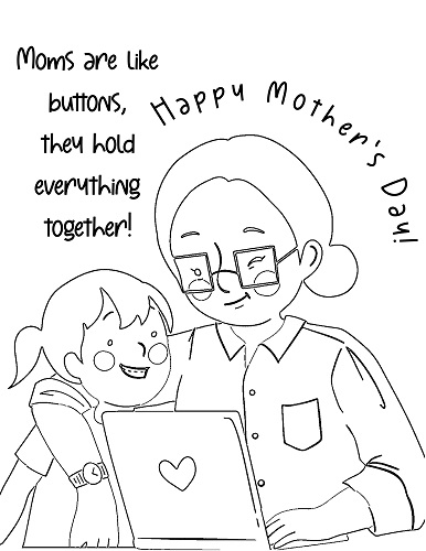 children mother's day coloring page