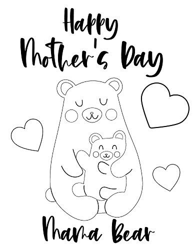 mama bear mother's day coloring page
