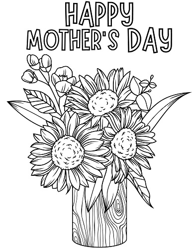 mother's day flower bouquet coloring pages