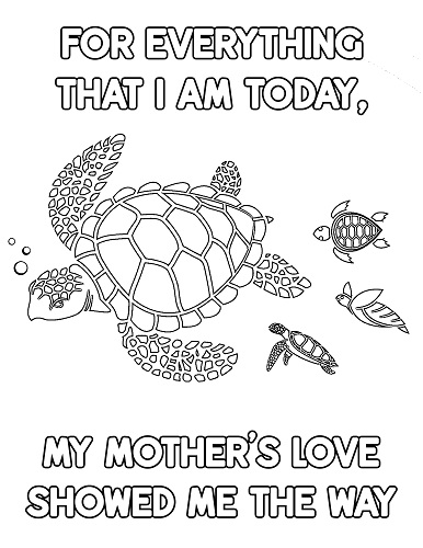 turtle mother's day coloring sheet free