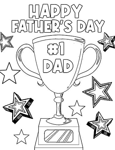 number one dad trophy coloring page