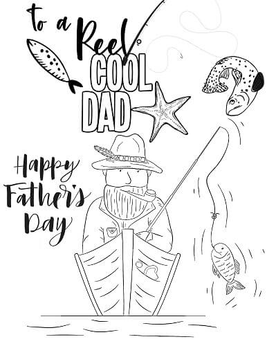 Father's Day Fishing Dad Coloring Page