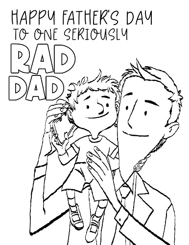 father and son coloring page for father's day