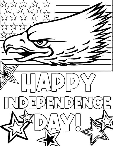 American flag 4th of July coloring page