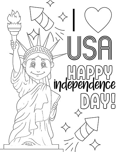 cute patriotic 4th of July coloring page with statue of liberty