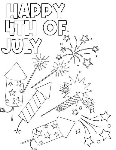 4th of July fireworks coloring pages to print free
