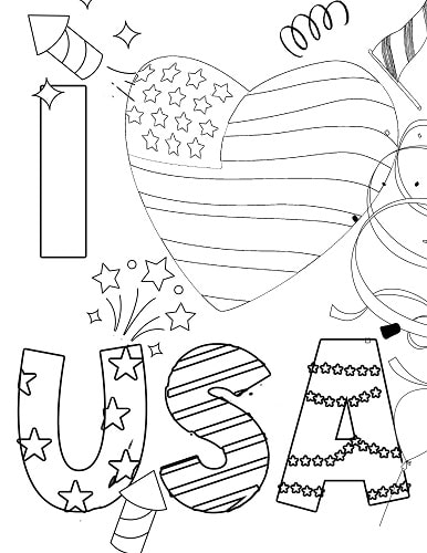 I love USA 4th of July coloring page