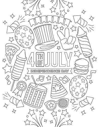 4th of July celebration coloring page to print