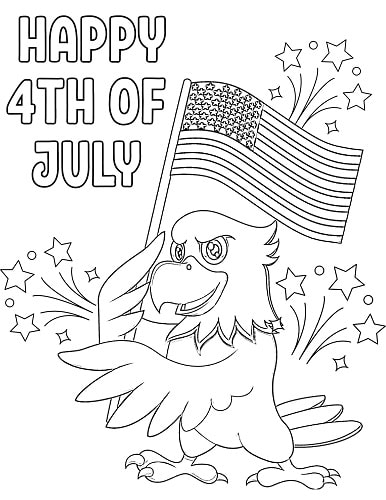 patriotic eagle Independence day coloring page