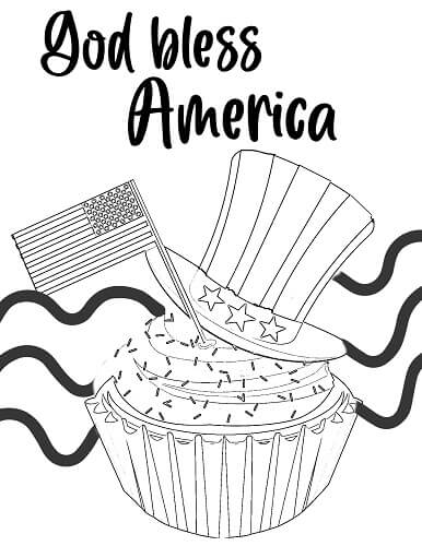 god bless America 4th of July coloring page with hat and flag