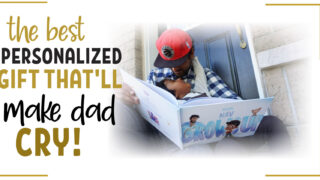 daddy and son reading Hooray heroes personalized book together
