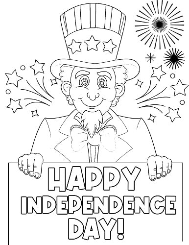 Uncle Sam 4th of July coloring page