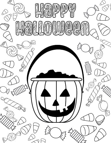 candy Halloween coloring sheet