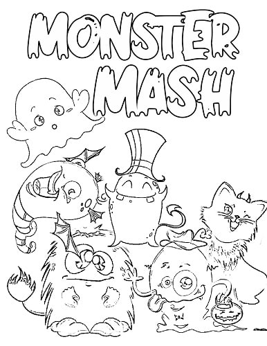 cute monsters Halloween coloring sheets