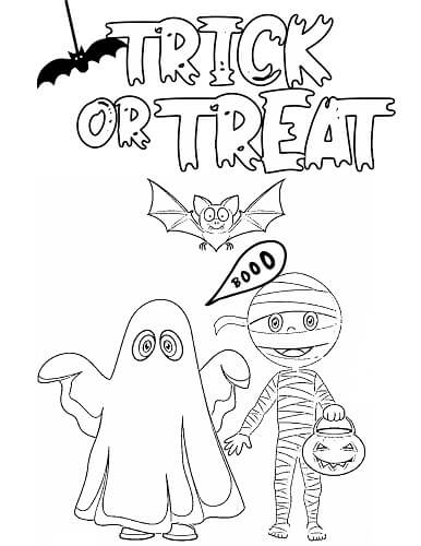Halloween ghost and mummy coloring page