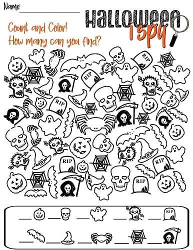challenging Halloween I SPY printable
