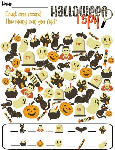 Halloween I Spy game printable pdf